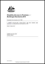 Disability (Access to Premises - Buildings) Standards 2010 cover