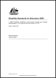 Disability Standards for Education 2005 cover