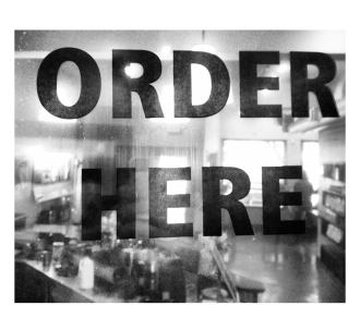 black and white restaurant lunch kitchen sign ORDER HERE