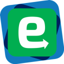 Egress Group Logo, white lower case 'e' letter, with arrow on tail, on green background and blue outer border