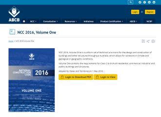 ABCB NCC 2016, NCC BCA Volume 1