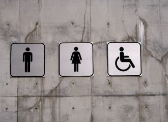 Toilet signs, male, female and disabled accessible toilet