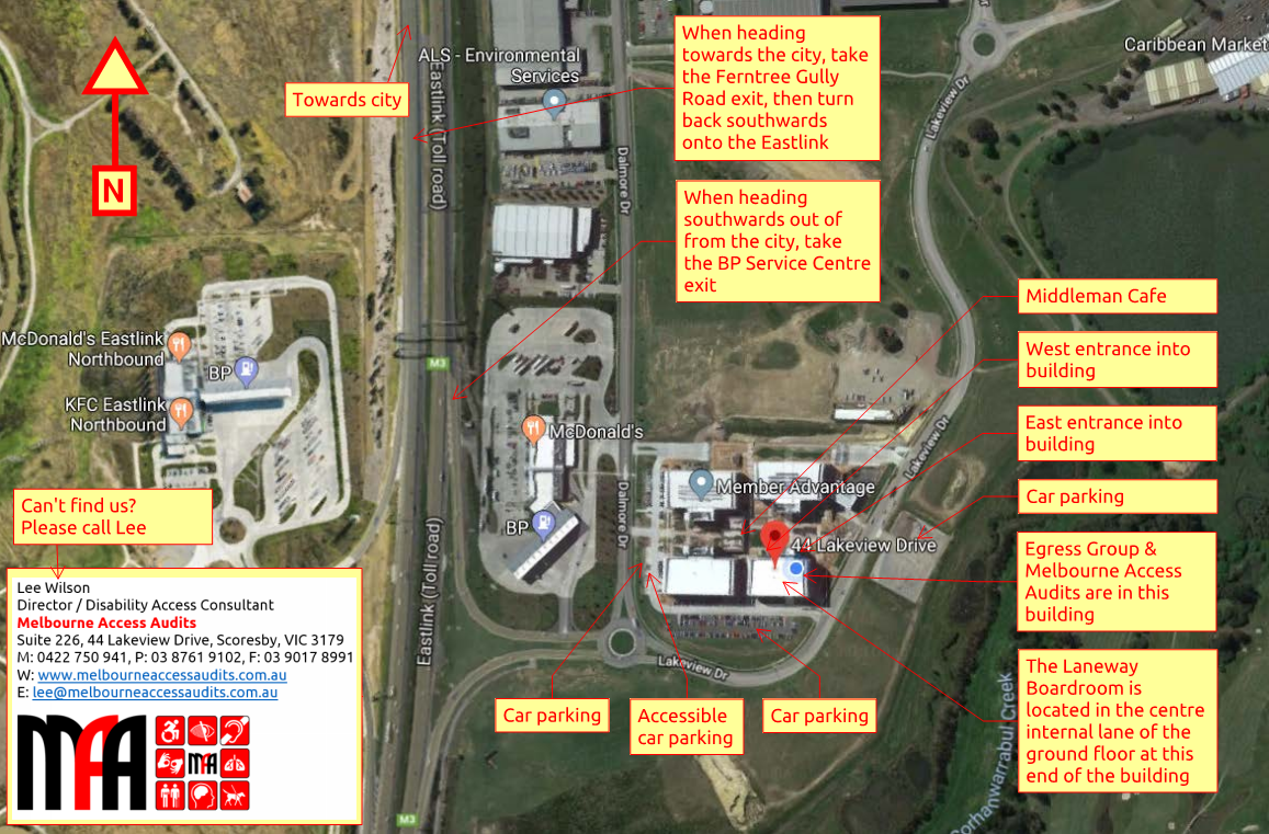 MAA location, aerial view of the business park and location of car parking entrances and the training room